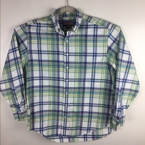 Vineyard Vines plaid cotton whale shirt. Medium.